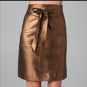 NWT Marc Jacobs bronze leather partridge skirt 4
